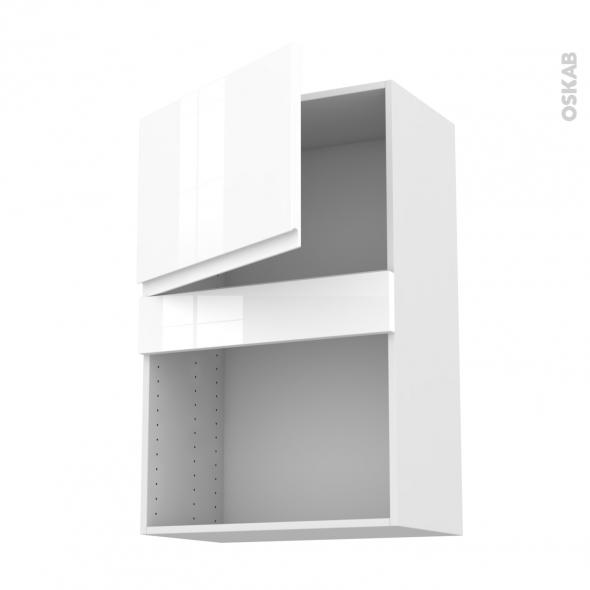 IPOMA Blanc - Meuble haut MO niche 36/38 - 1 porte - L60xH92xP37