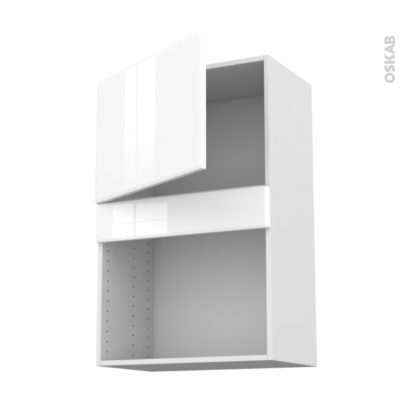 IRIS Blanc - Meuble haut MO niche 36/38 - 1 porte - L60xH92xP37
