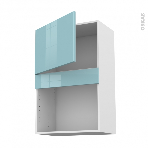 KERIA Bleu - Meuble haut MO niche 36/38 - 1 porte - L60xH92xP37