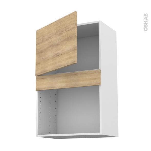 Meuble de cuisine - Haut MO encastrable niche 38 - HOSTA Chêne naturel - 1 porte - L60 x H92 x P37 cm