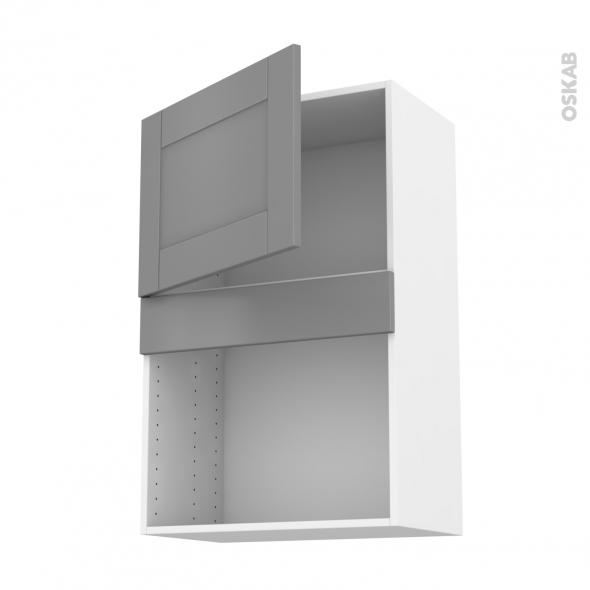 Meuble de cuisine - Haut MO encastrable niche 38 - FILIPEN Gris - 1 porte - L60 x H92 x P37 cm