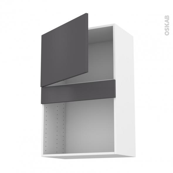 Meuble de cuisine - Haut MO encastrable niche 38 - GINKO Gris - 1 porte - L60 x H92 x P37 cm
