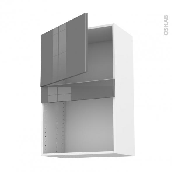 Meuble de cuisine - Haut MO encastrable niche 38 - STECIA Gris - 1 porte - L60 x H92 x P37 cm