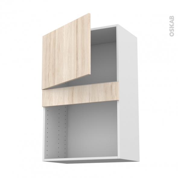 Meuble de cuisine - Haut MO encastrable niche 38 - IKORO Chêne clair - 1 porte - L60 x H92 x P37 cm