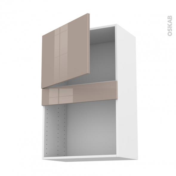 Meuble de cuisine - Haut MO encastrable niche 38 - KERIA Moka - 1 porte - L60 x H92 x P37 cm