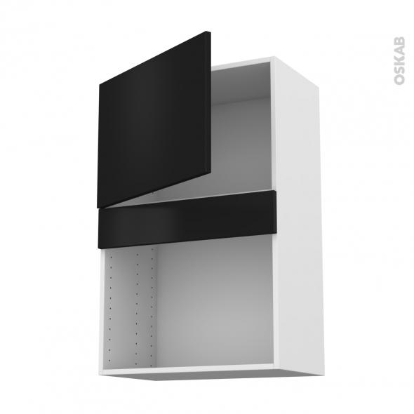 Meuble de cuisine - Haut MO encastrable niche 38 - GINKO Noir - 1 porte - L60 x H92 x P37 cm