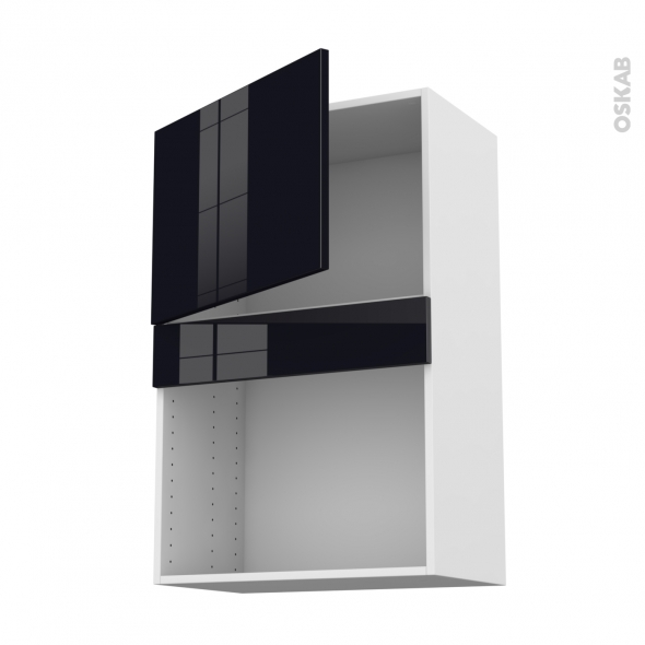 KERIA Noir - Meuble haut MO niche 36/38 - 1 porte - L60xH92xP37