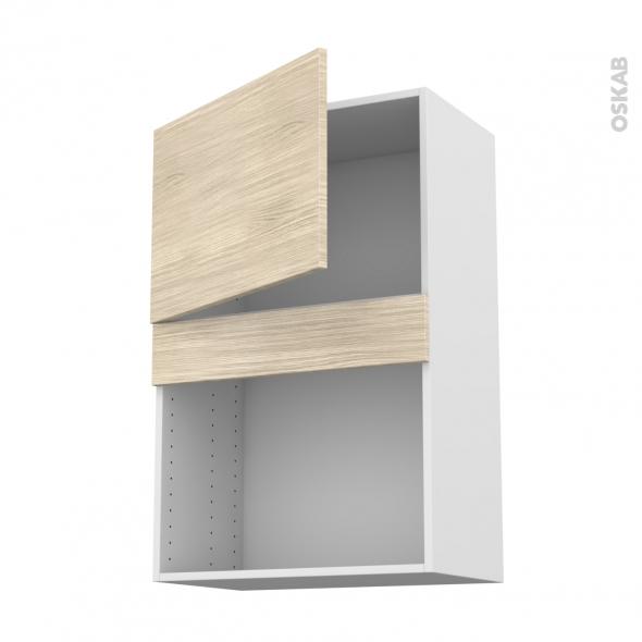 Meuble de cuisine - Haut MO encastrable niche 38 - STILO Noyer Blanchi - 1 porte - L60 x H92 x P37 cm
