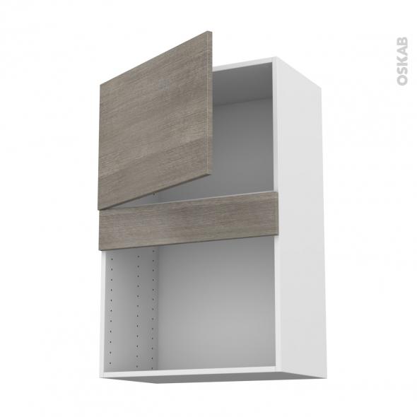 Meuble de cuisine - Haut MO encastrable niche 38 - STILO Noyer Naturel - 1 porte - L60 x H92 x P37 cm