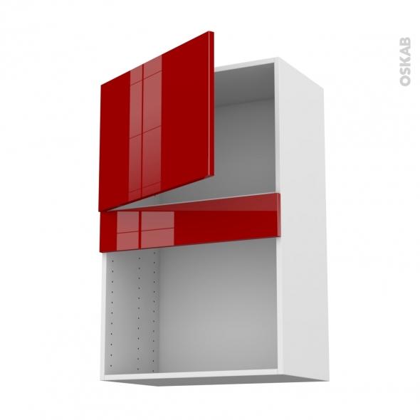 Meuble de cuisine - Haut MO encastrable niche 38 - STECIA Rouge - 1 porte - L60 x H92 x P37 cm