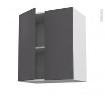 Meuble de cuisine - Haut ouvrant - GINKO Gris - 2 portes - L60 x H70 x P37 cm