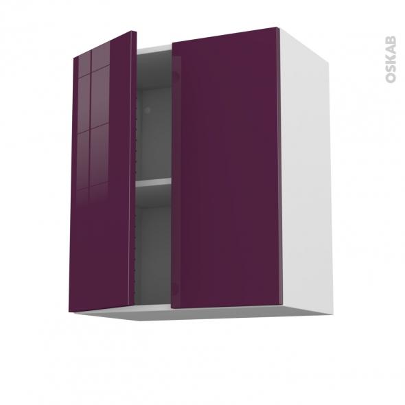 Meuble de cuisine - Haut ouvrant - KERIA Aubergine - 2 portes - L60 x H70 x P37 cm