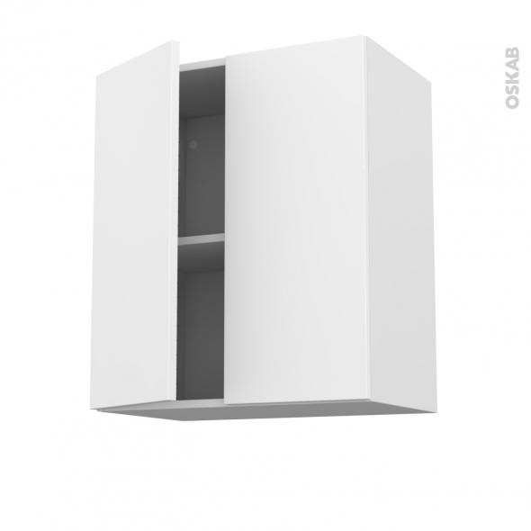 Meuble de cuisine - Haut ouvrant - GINKO Blanc - 2 portes - L60 x H70 x P37 cm