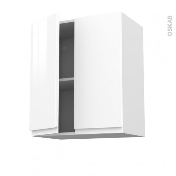 Meuble de cuisine - Haut ouvrant - IPOMA Blanc brillant - 2 portes - L60 x H70 x P37 cm