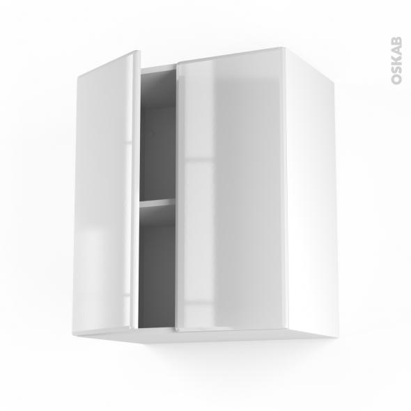 Meuble de cuisine - Haut ouvrant - IRIS Blanc - 2 portes - L60 x H70 x P37 cm