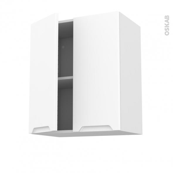 Meuble de cuisine - Haut ouvrant - PIMA Blanc - 2 portes - L60 x H70 x P37 cm