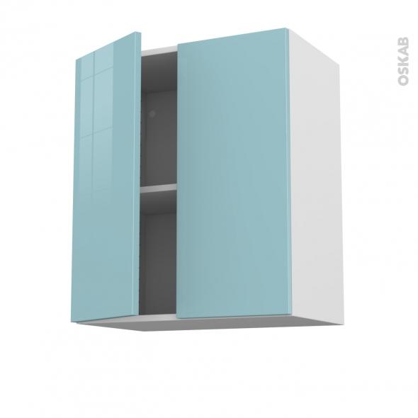 Meuble de cuisine - Sur hotte - Pour hotte encastrable - Haut ouvrant - KERIA Bleu - 2 portes - L60 x H70 x P37 cm