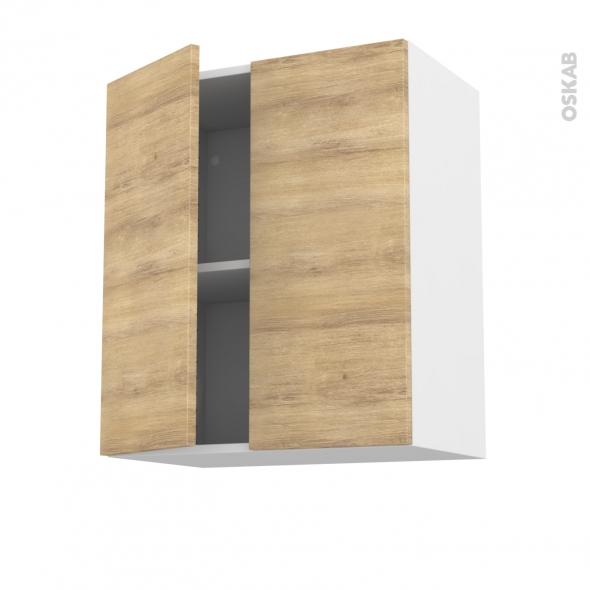 Meuble de cuisine - Haut ouvrant - HOSTA Chêne naturel - 2 portes - L60 x H70 x P37 cm