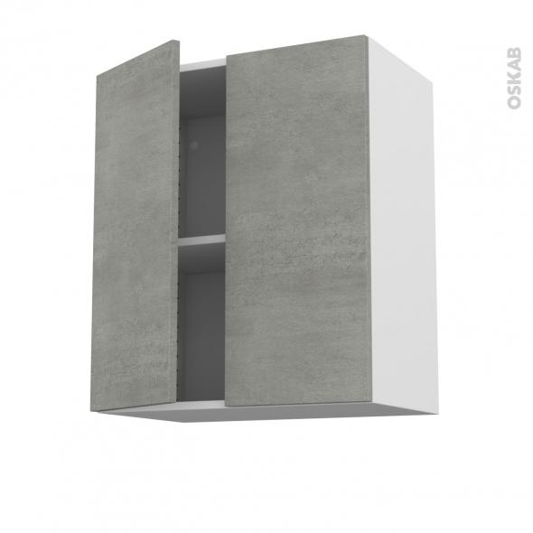 Meuble de cuisine - Haut ouvrant - FAKTO Béton - 2 portes - L60 x H70 x P37 cm