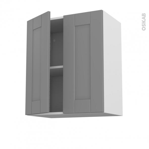 Meuble de cuisine - Haut ouvrant - FILIPEN Gris - 2 portes - L60 x H70 x P37 cm