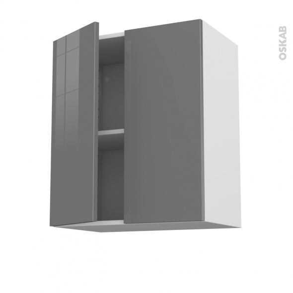 STECIA Gris - Meuble haut ouvrant H70 - 2 portes - L60xH70xP37