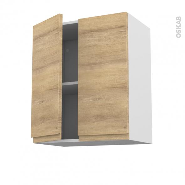 IPOMA Chêne Naturel - Meuble haut ouvrant H70 - 2 portes - L60xH70xP37