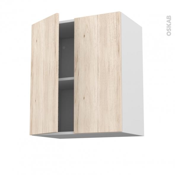 Meuble de cuisine - Sur hotte - Pour hotte encastrable - Haut ouvrant - IKORO Chêne clair - 2 portes - L60 x H70 x P37 cm