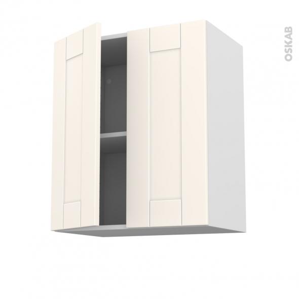 Meuble de cuisine - Haut ouvrant - FILIPEN Ivoire - 2 portes - L60 x H70 x P37 cm