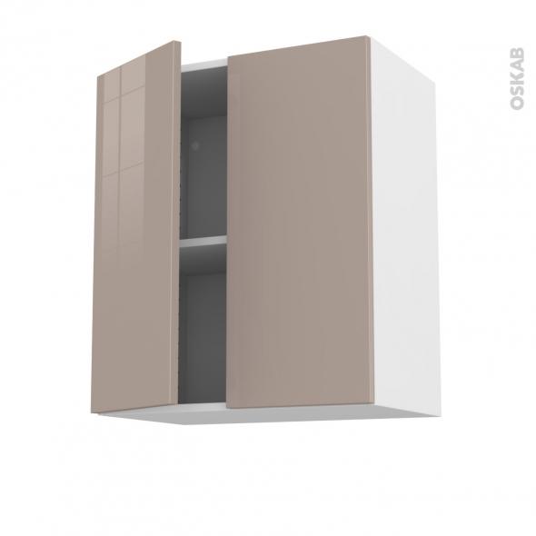 Meuble de cuisine - Haut ouvrant - KERIA Moka - 2 portes - L60 x H70 x P37 cm