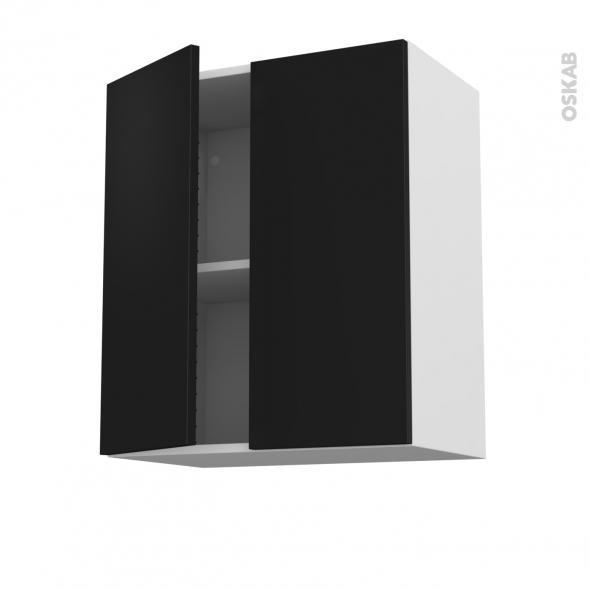 Meuble de cuisine - Sur hotte - Pour hotte encastrable - Haut ouvrant - GINKO Noir - 2 portes - L60 x H70 x P37 cm