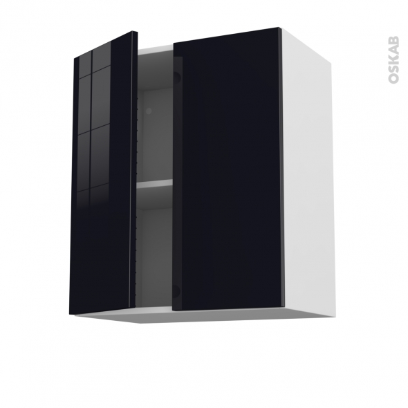 Meuble de cuisine - Haut ouvrant - KERIA Noir - 2 portes - L60 x H70 x P37 cm