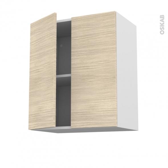 Meuble de cuisine - Haut ouvrant - STILO Noyer Blanchi - 2 portes - L60 x H70 x P37 cm