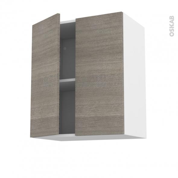 Meuble de cuisine - Haut ouvrant - STILO Noyer Naturel - 2 portes - L60 x H70 x P37 cm