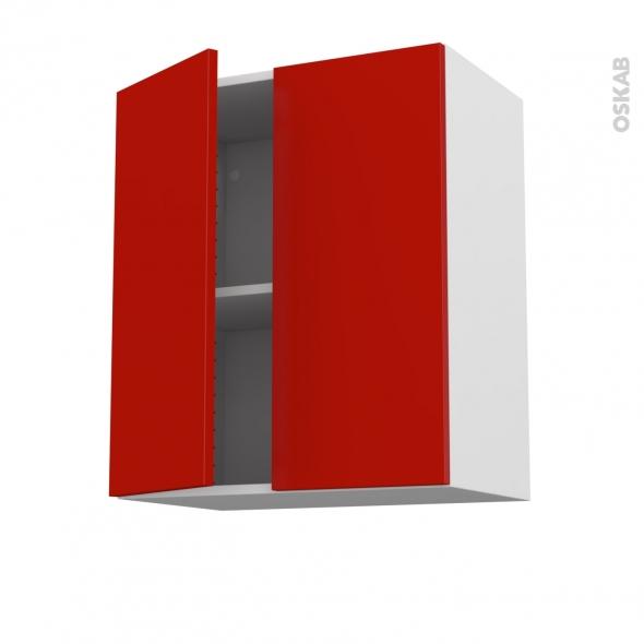 GINKO Rouge - Meuble haut ouvrant H70 - 2 portes - L60xH70xP37