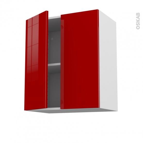Meuble de cuisine - Haut ouvrant - STECIA Rouge - 2 portes - L60 x H70 x P37 cm