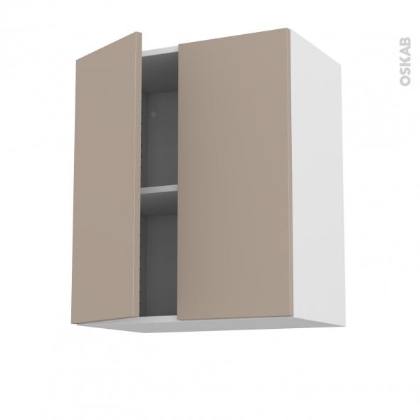 Meuble de cuisine - Haut ouvrant - GINKO Taupe - 2 portes - L60 x H70 x P37 cm