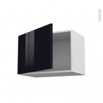 Meuble de cuisine - Haut ouvrant - KERIA Noir - 1 porte - L60 x H41 x P58 cm