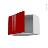 Meuble de cuisine - Haut ouvrant - STECIA Rouge - 1 porte - L60 x H41 x P37 cm