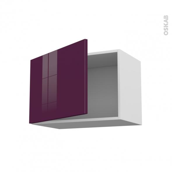 Meuble de cuisine - Haut ouvrant - KERIA Aubergine - 1 porte - L60 x H41 x P37 cm