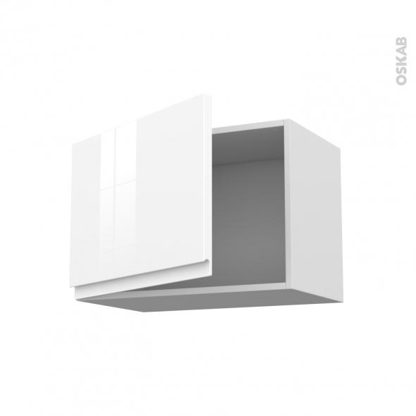 Meuble de cuisine - Haut ouvrant - IPOMA Blanc brillant - 1 porte - L60 x H41 x P37 cm
