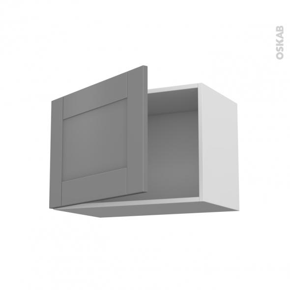 Meuble de cuisine - Haut ouvrant - FILIPEN Gris - 1 porte - L60 x H41 x P37 cm
