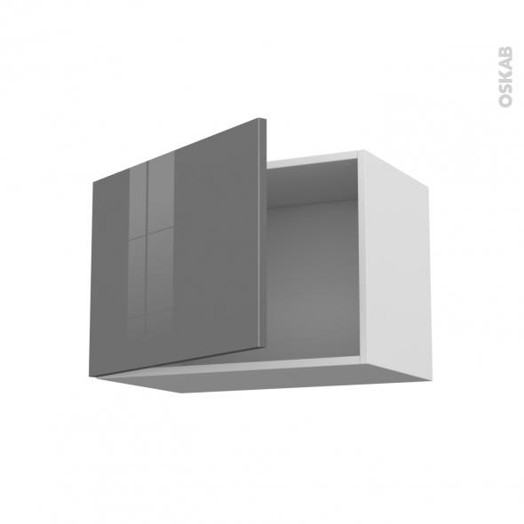 Meuble de cuisine - Haut ouvrant - STECIA Gris - 1 porte - L60 x H41 x P37 cm