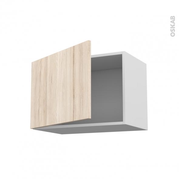 Meuble de cuisine - Haut ouvrant - IKORO Chêne clair - 1 porte - L60 x H41 x P37 cm