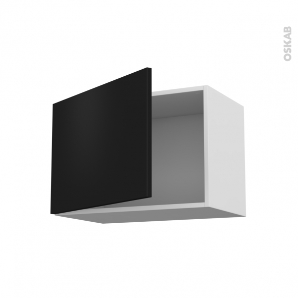 Meuble de cuisine - Sur hotte - Pour hotte encastrable - Haut ouvrant - GINKO Noir - 1 porte - L60 x H41 x P37 cm