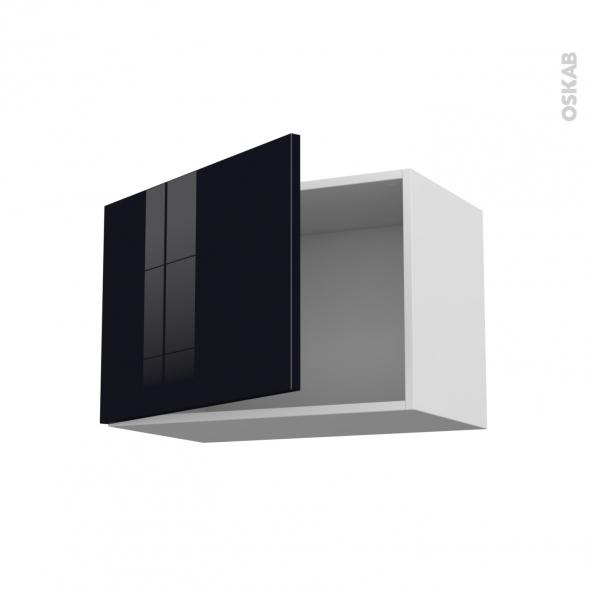 Meuble de cuisine - Sur hotte - Pour hotte encastrable - Haut ouvrant - KERIA Noir - 1 porte - L60 x H41 x P37 cm
