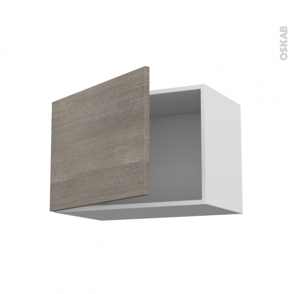 Meuble de cuisine - Haut ouvrant - STILO Noyer Naturel - 1 porte - L60 x H41 x P37 cm