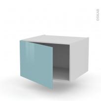 Meuble de cuisine - Haut ouvrant - KERIA Bleu - 1 porte - L60 x H41 x P58 cm