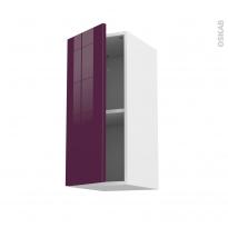 Meuble de cuisine - Haut ouvrant - KERIA Aubergine - 1 porte - L30 x H70 x P37 cm