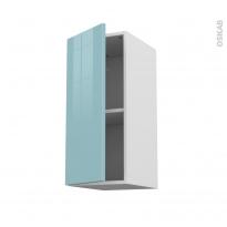 Meuble de cuisine - Haut ouvrant - KERIA Bleu - 1 porte - L30 x H70 x P37 cm