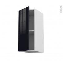 Meuble de cuisine - Haut ouvrant - KERIA Noir - 1 porte - L30 x H70 x P37 cm